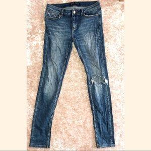 Zara- Z1975 Blown Out Knee Skinny Jeans